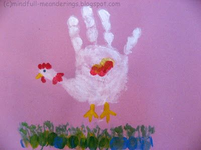 Handprint Chicken and caterpiller +  + Toddler Crafts & Activities Preschooler Crafts & Activities Lil P and Me Handmade Cards by kids