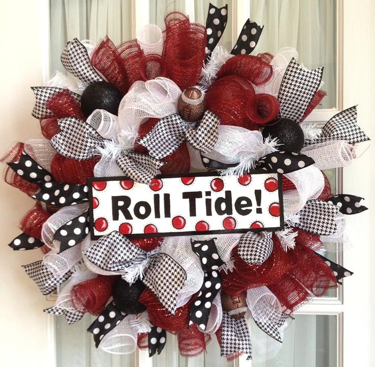 Deco Mesh Bama ROLL TIDE Collegiate Wreath Crimson White Black Door Wreath.