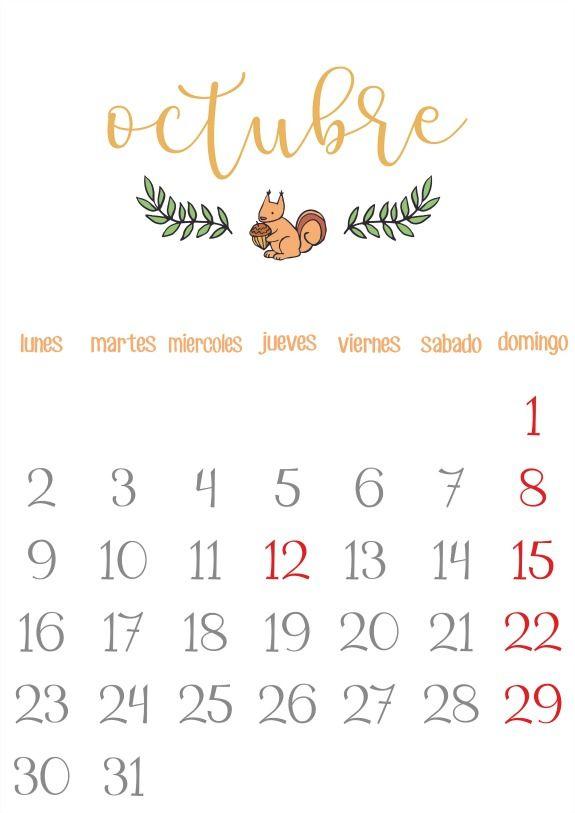 Imprimible: Calendario Octubre 2017
