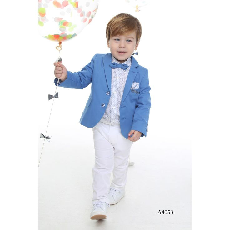 Boy's Christening 3- piece Suit in Sky Blue-White, Special Occasion Clothing for Children 0-5 Y