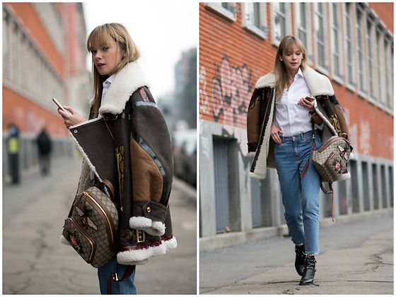 Get this look: http://lb.nu/look/8640773  More looks by Anastasiia Masiutkina: http://lb.nu/anastasiiamas  Items in this look:  Burberry Leather Jacket, Gucci Backpack, H&M Jeans, Valentino Boots   #casual #street #anastasiiamasiutkina #eatdresstravel #fashioninfluencer #fashion #streetstyle #streetstylevgenio #burberry