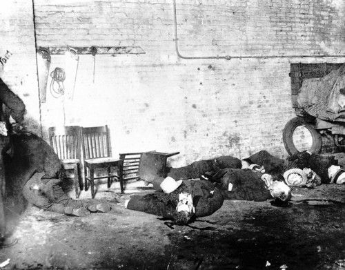 """The grisly scene after four gunmen executed seven member of George """"Bugs"""" Moran's gang on February 14, 1929. We call it """"The St. Valentine's Day Massacre."""" Although Al Capone was suspected, no one was ever charged or convicted with the murders. http://www.obitoftheday.com/post/43085792650/stvalentinesdaymassacre#"""