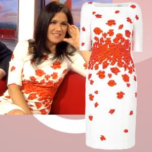 Where did Susanna Reid get her red and white poppy dress from on BBC Breakfast 11/02/14? - Style on Screen