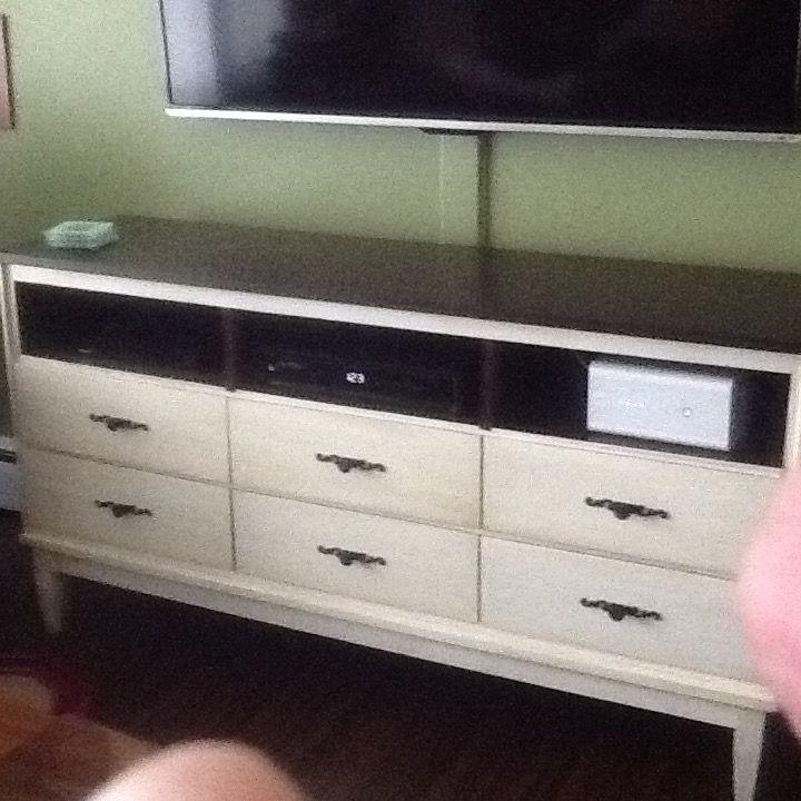 Tv stand. Taken from an old dresser. Thank you Hubert.