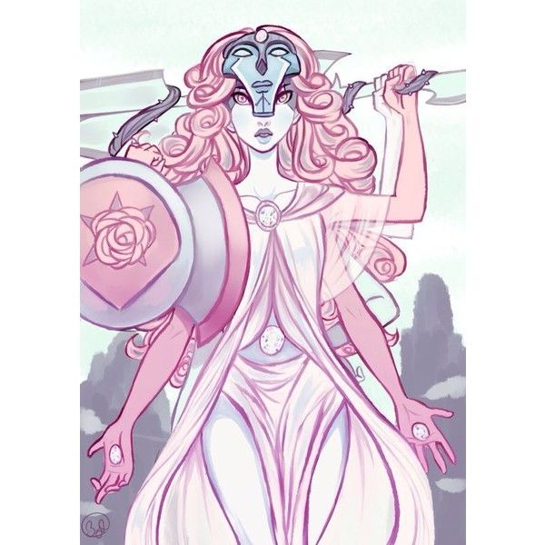 Steven Universe 4 Gem Fusion (Rose Quartz+Amethyst+Garnet+Pearl) ❤ liked on Polyvore featuring jewelry, amethyst gemstone jewelry, garnet jewelry, gemstone jewellery, garnet jewellery and rose quartz jewelry