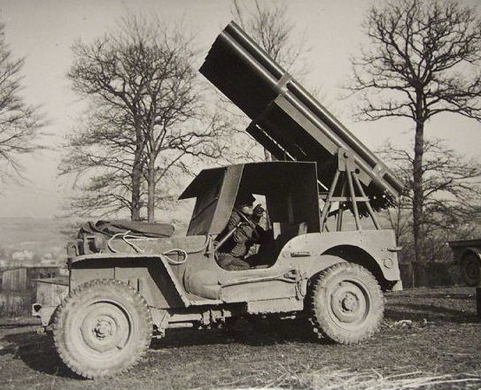 Jeep Willys MB with rocket launcher platform.