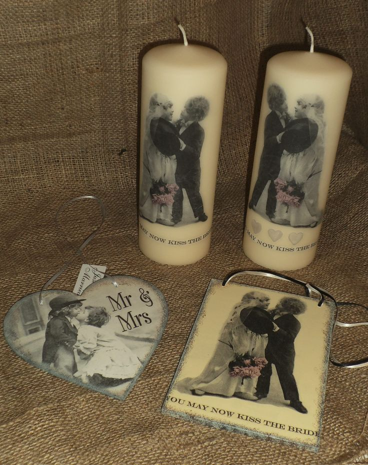 Unusual vintage-look wedding candles and bridal plaques. www.facebook.com/YourLovelyHomeStephanieSinclair www.folksy.com/shops/YourLovelyHome