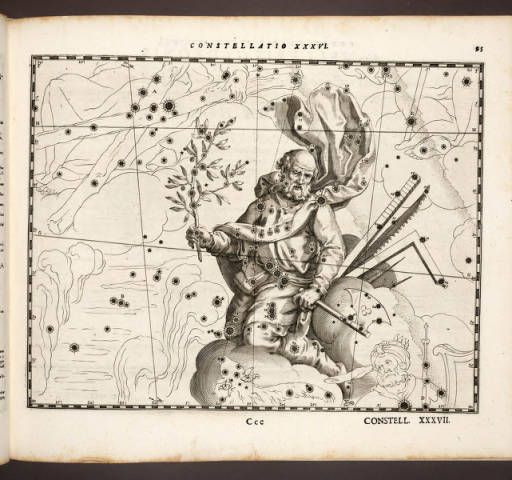 Coelum Stellatum Christianum. Julius Schiller, 1627. - Page 95. Constellation XXXVI. Star Map. St. Joseph husband of Mary formerly Orion.