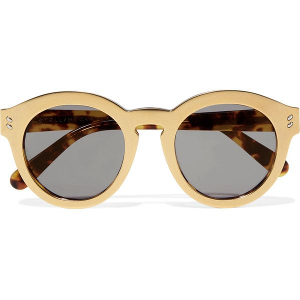 Stella McCartney Round-frame gold-tone and acetete sunglasses found on Polyvore featuring accessories, eyewear, sunglasses, glasses, gold, round frame glasses, tortoiseshell sunglasses, tortoise sunglasses, round sunglasses and tortoise shell sunglasses