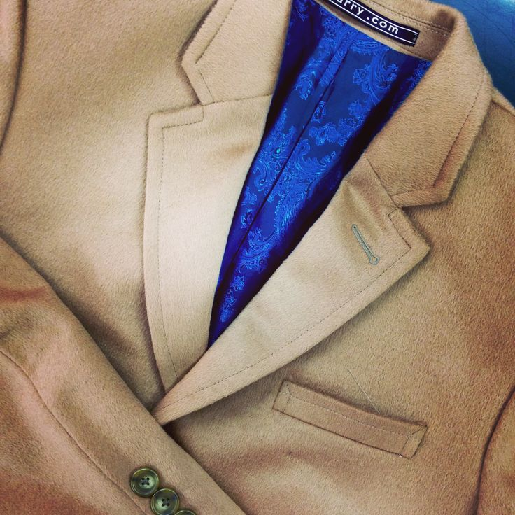 Winter Coat with Lining by Narry Tailors #wintercoat #coat #lining #caramel #blue #besttailor #narrytailor
