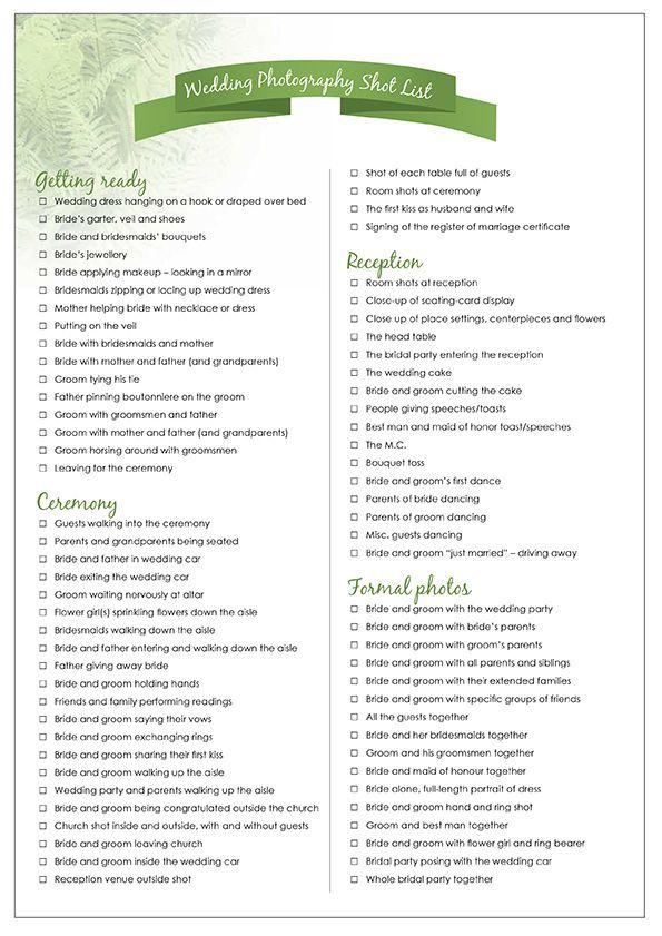 Wedding Photography Guide Pdf: Wedding Photography Shot List