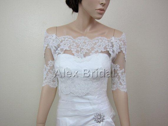 OffShoulder ivory Alencon Lace bolero jacket Bridal by alexbridal, $99.99