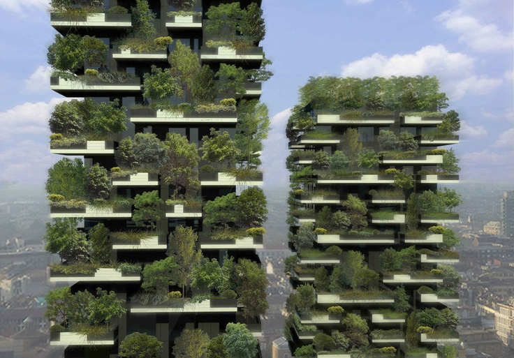 Bosco Verticale (Vertical Forest) by Studio Boeri, via npr: The Milan project when completed would occupy 2.5 acres of forest and will address the local pollution by cleansing the air and greening the landscape.  This is a rendering. #Illustration #Green #Vertical_Forest #Milan