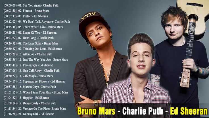 Top 30 Songs Of Bruno Mars, Charlie Puth, Ed Sheeran - Greatest Hits Ful...