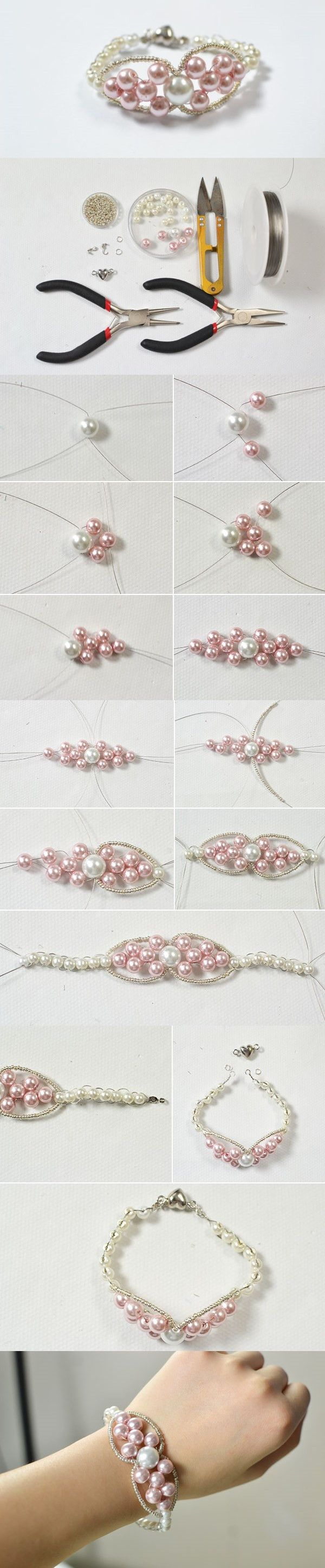 Making Chic and Elegant Pearl Beaded Bracelet