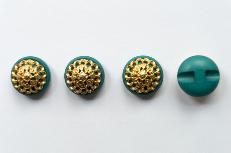 Teal & Gold Vintage Buttons Set of 4 by sustainableartisan on Etsy