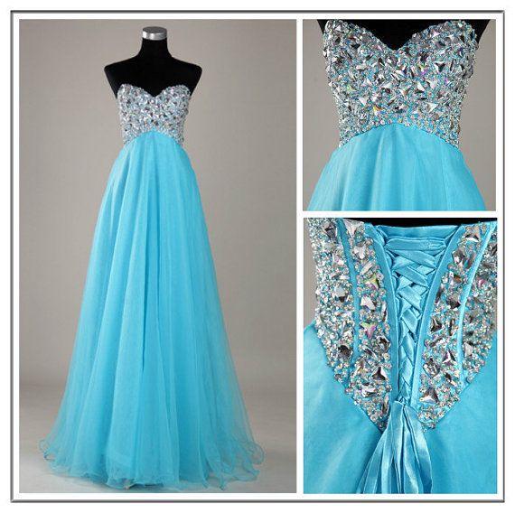 Custom Made A line Blue Sweetheart Floor Length Prom Dresses, Long Dresses for Prom 2014, Cheap Blue Prom Dresses on Etsy, $169.99