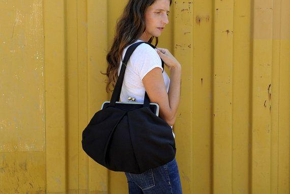 black vegan shoulder bag with kisslock closure. free by PikulaBags