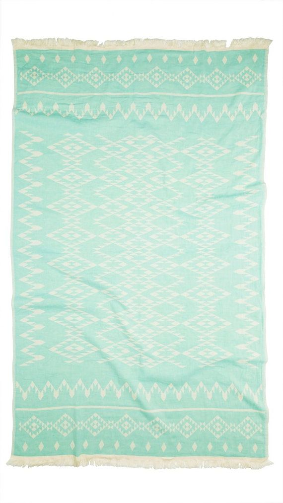 Aztec Throw Blanket | Turquoise Navajo Large Beach Towel | Geometric Yoga Blanket | Mint Blue Patterned Beach Mat | Cotton Bohemian Kilim   ➳ 100%