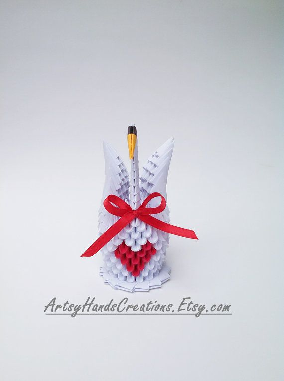 3d Origami Swan 3d Origami Small Swan 3d by ArtsyHandsCreations