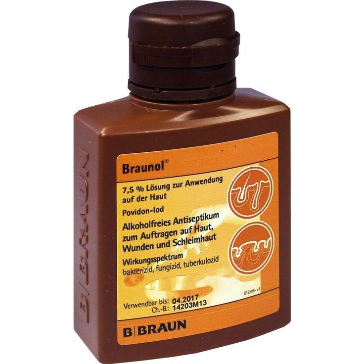 BRAUNOL Schleimhautantiseptikum:   Packungsinhalt: 100 ml Lösung PZN: 01588679 Hersteller: B. Braun Melsungen AG Preis: 2,78 EUR inkl. 19…