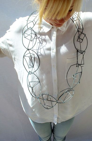 Natalie Lee, Birmingham School of Jewellery - 'Wired Wearables' – neckpiece in steel and enamel, modelled