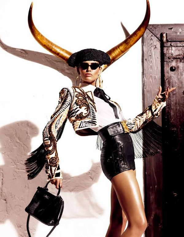 Torero-Inspired Editorials - The Vogue Japan Kiss of the Matador Shoot Stars Bianca Balti (GALLERY)