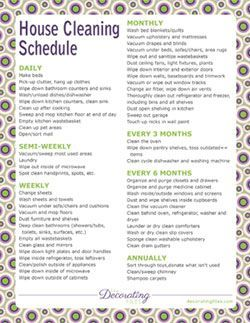 Printable House Cleaning Schedule - Need to use this since we can't afford our cleaning lady anymore.