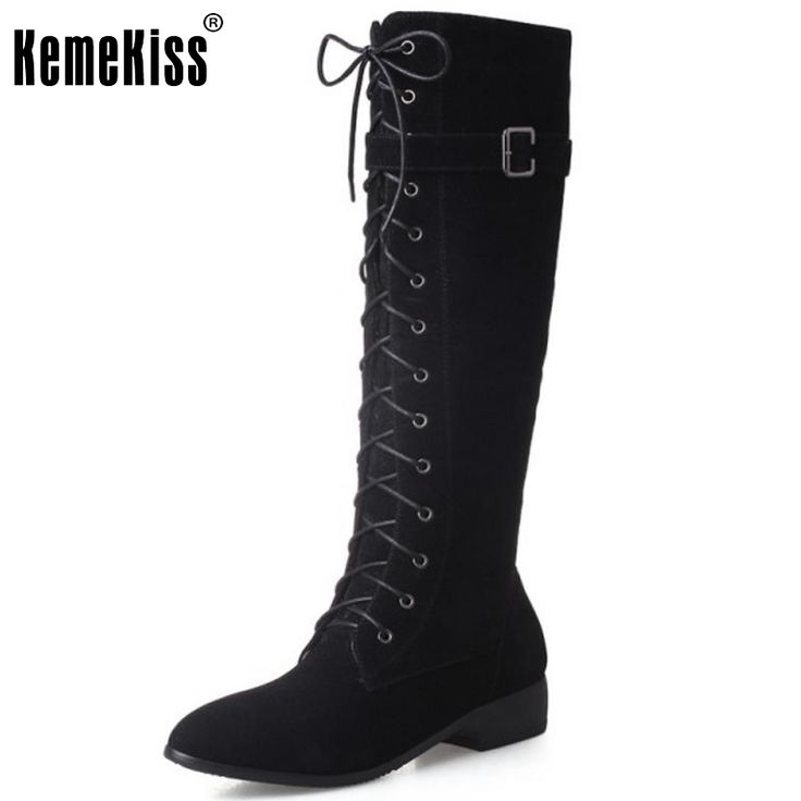 32.37$  Watch now - http://alieib.shopchina.info/1/go.php?t=32741430632 - New Fashion Woman Round Toe Flat Knee Boots Women Stylish Lace Up Knight Boot Ladies Suede Leather Shoes Footwear Size 33-43  #magazineonlinewebsite