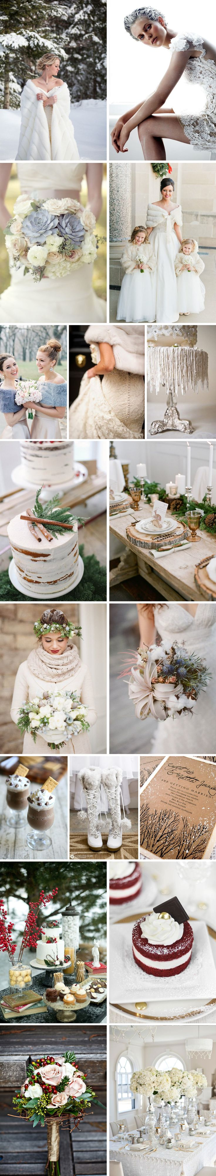 Although most brides prefer the warmer months to tie the knot, there are so many reasons why a winter wedding is really an awesome thing. Let's summarize: beautiful snowy landscape, warm candles, delicious hot cocoa for dessert, warm wraps around your dress, and cute winter wedding boots. Check out this glamorous winter wedding inspiration to get you thinking about your own winter wonderland wedding