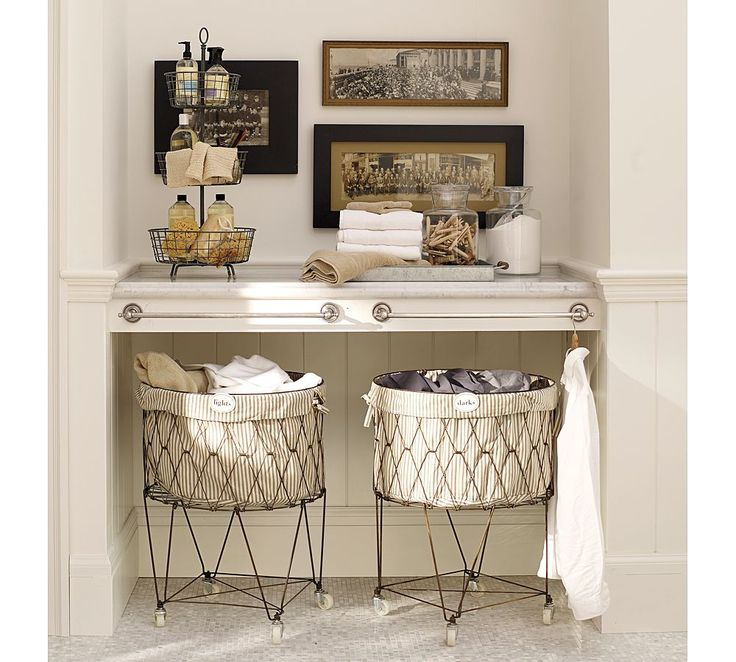 Laundry Hamper With Wheels Part - 39: So Much To Like Here: Antique Style: French Wire Hamper On Wheels, 3