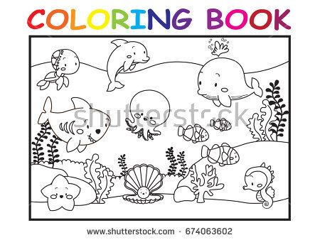 Coloring Kid Page Cute Cartoon Sea Stock V On Pics Of Jurassic World Pages