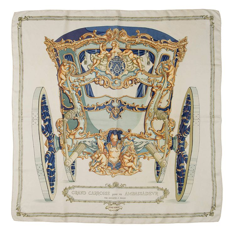 Hermes Silk Scarf - 'The Ambassador's Coach' | From a collection of rare vintage scarves at https://www.1stdibs.com/fashion/accessories/scarves/