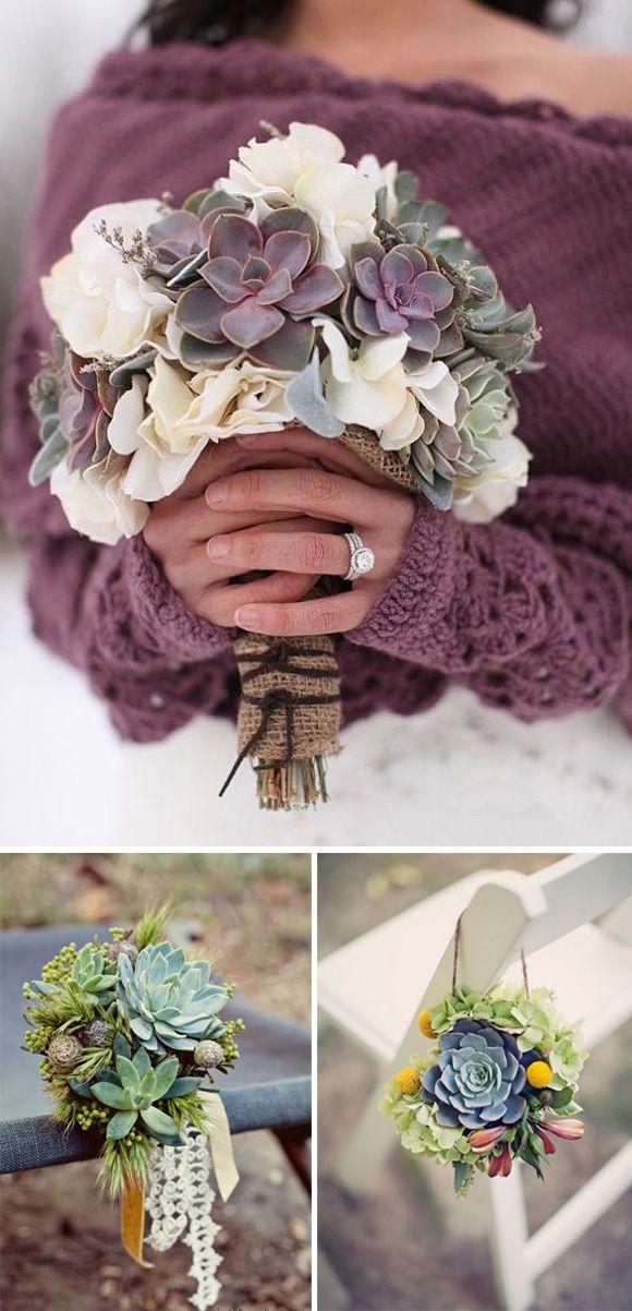 Flores de boda: plantas crasas y suculentas