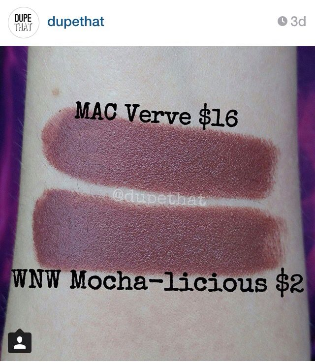 "Dupe for Mac Verve = WnW Mocha-licious, from ""dupethat"" on Instagram"