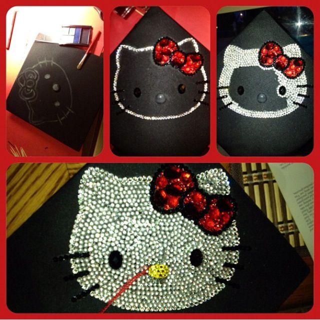 My Graduation cap. Bedazzled Hello Kitty inspired. :) #DIY