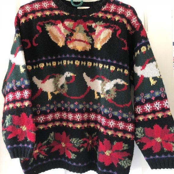 Vintage Hand Knit Wool Sweater, Christmas Sweater, Holiday