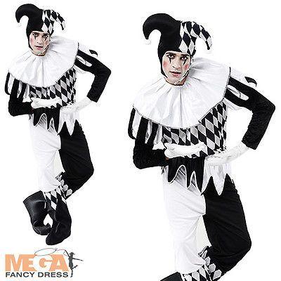 Jester Clown Mens Harlequin Joker Fancy Dress Halloween Adult Costume Outfit NEW
