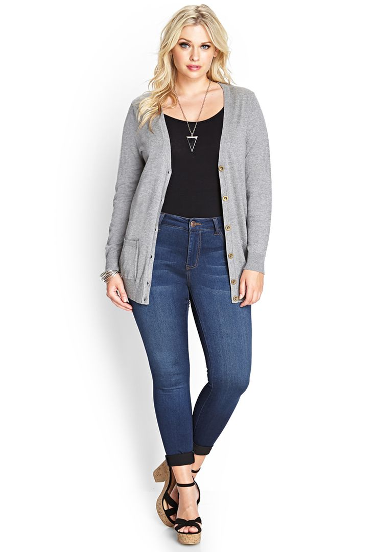 Fitted V-Neck Cardigan   FOREVER21 PLUS - 2000064281