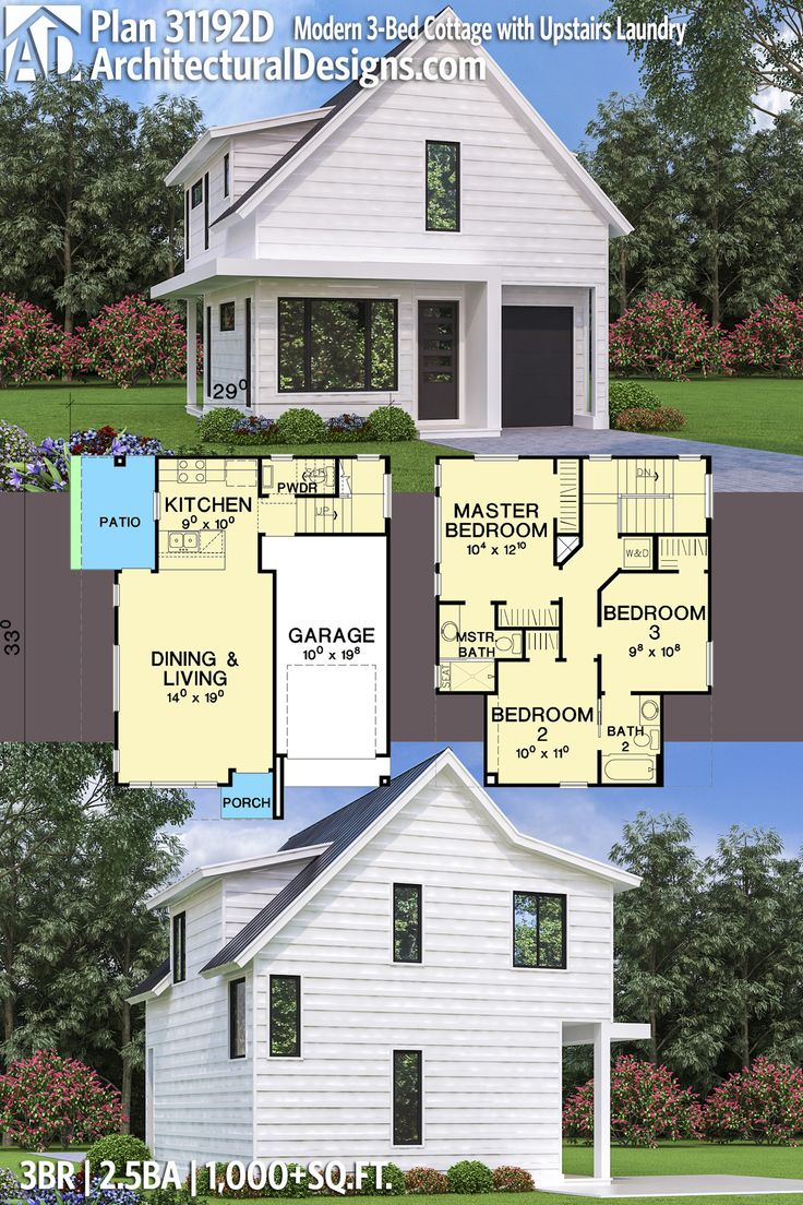 Architectural Designs Modern Cottage House Plan 31192D gives you 3 beds and laundry upstairs and open floor plan on the main floor...dream vacation home