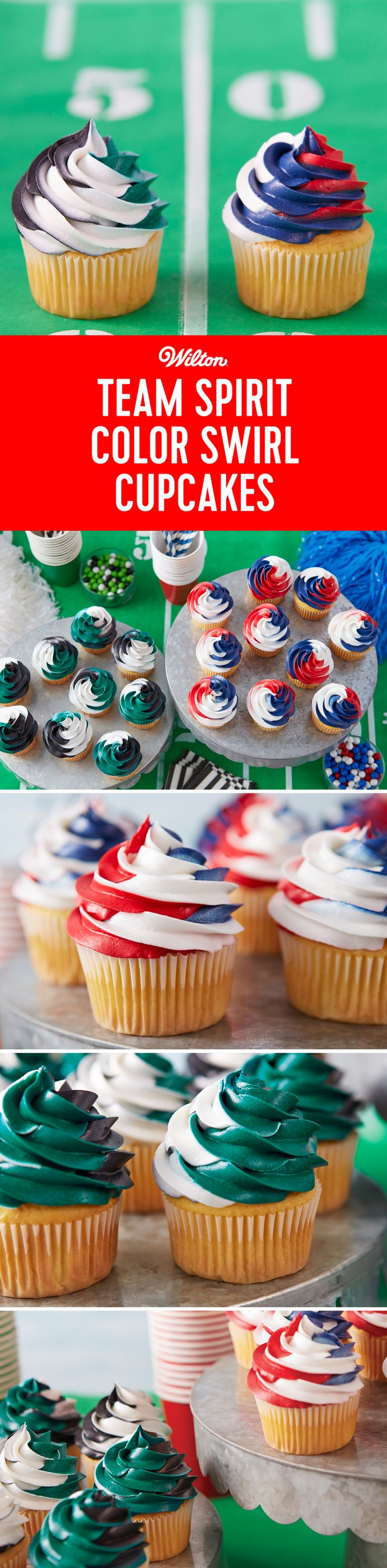 Show off your team spirit with these Color Swirl Cupcakes! Use any 3 colors of your choosing for a fun way to show off your team pride! Great for game day, homecoming celebrations, or any other party! #wiltoncakes #cupcakes #colorswirl #buttercream #cupcakeideas #gameday #tailgating #dessert #treats