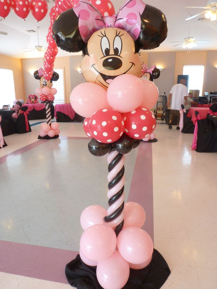 Mickey or minnie latex balloon column balloon ideas for Balloon decoration minnie mouse