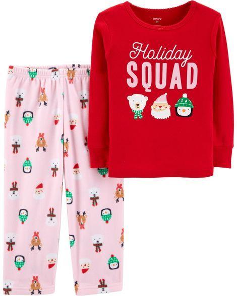 5475e2f94280 2-Piece Toddler Christmas Cotton   Fleece PJs