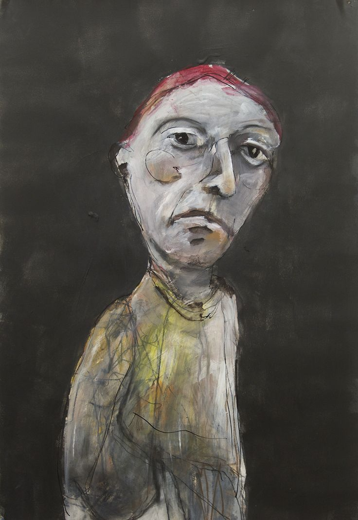 portrait mixed media, charcoal, ink, gesso, conte and fabric