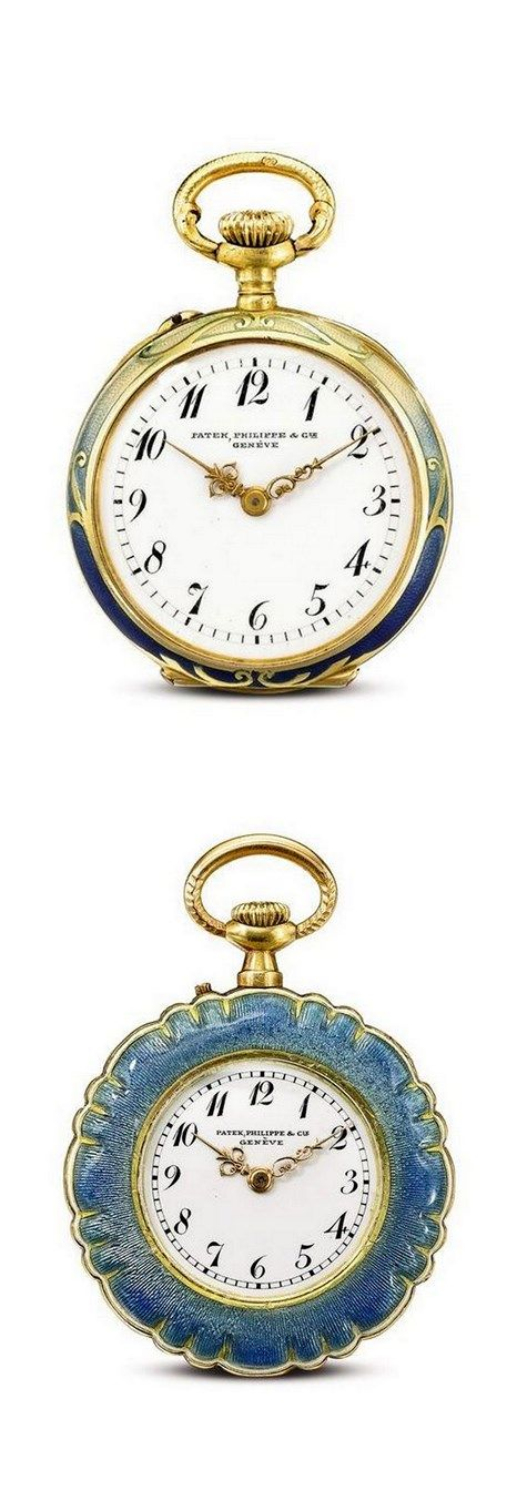 1- Patek Philippe & Cie - A YELLOW GOLD, ENAMEL AND DIAMOND-SET OPEN-FACED…