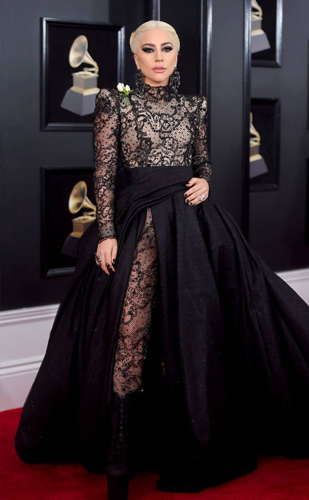 Lady Gaga from 2018 Grammys Red Carpet Fashion  In Armani Privé