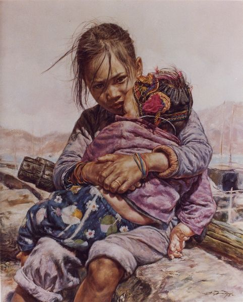 ARTIST WAI MING - Asian Oriental Chinese Fine Art Artwork Paintings Catalog (title: Baby Brother)
