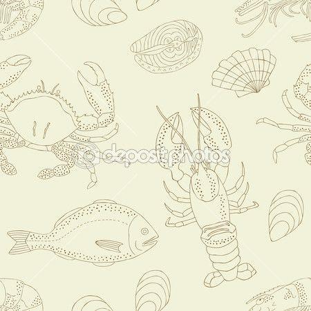 Морской пищи бесшовный фон — Стоковая иллюстрация #41250237