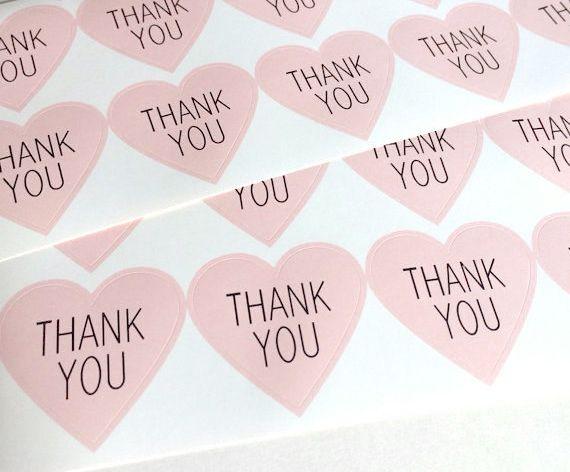 Sticker hartje roze   Thank youLeuk om te gebruiken als sluitzegel op je…