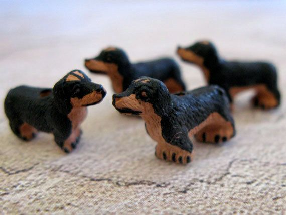 4 Tiny Brown and Black Dachshund Beads  Animal by TheCraftyBead $4.95